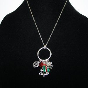 Silver Christmas charm necklace